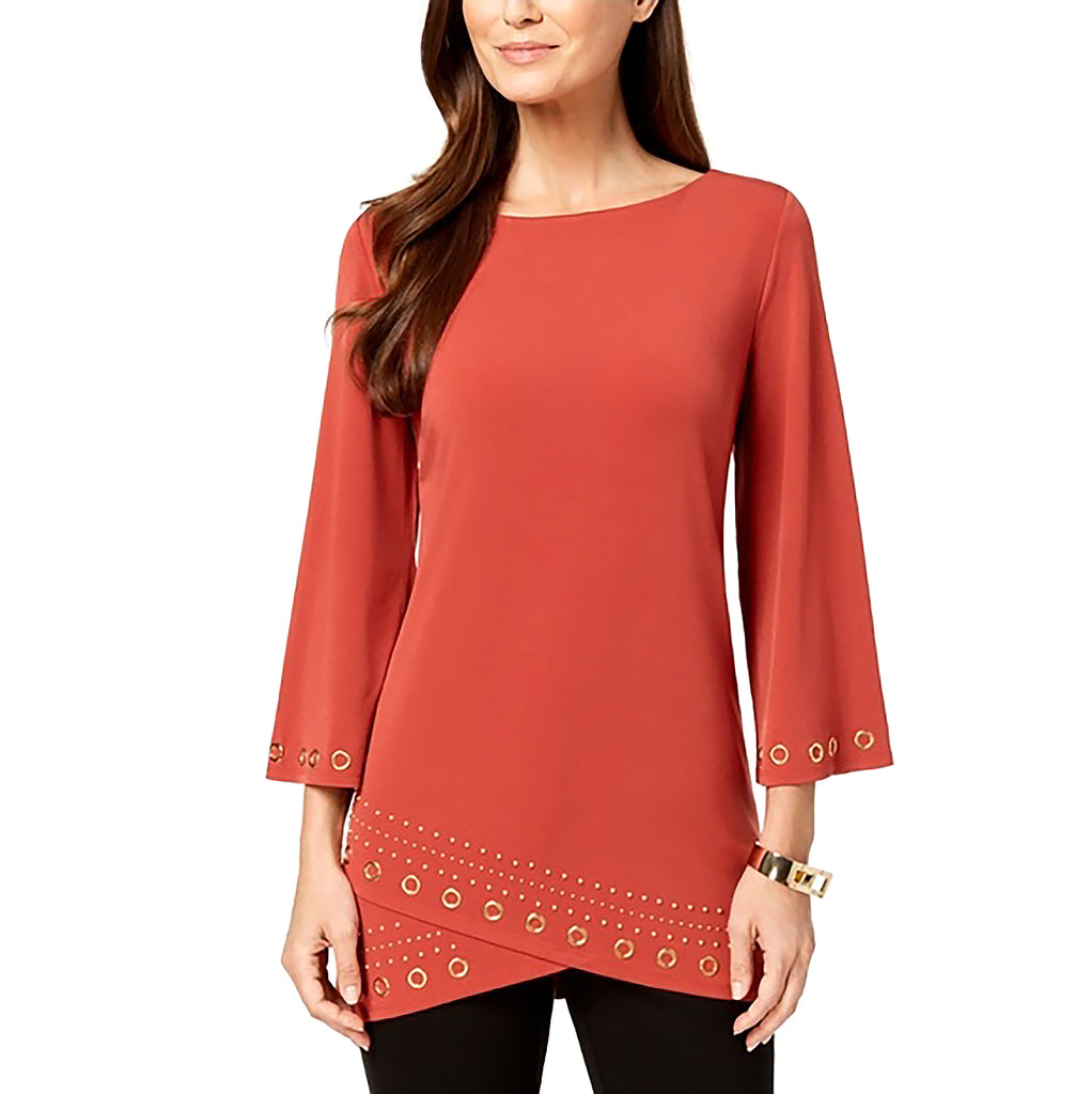 Yieldings Discount Clothing Store's Petite Layered-Hem Grommet-Trim Top by JM Collection in Rusty Red