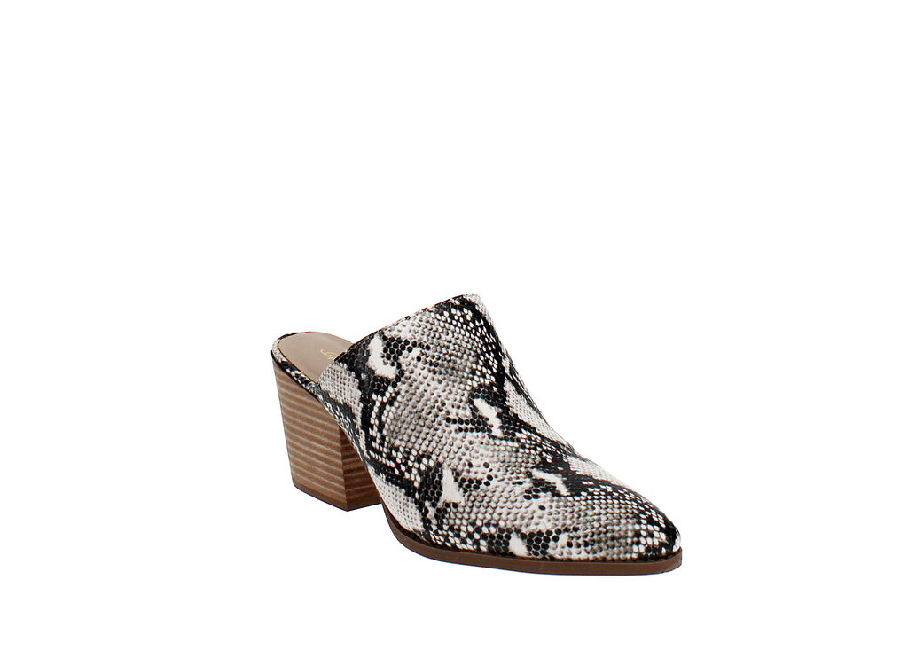 Yieldings Discount Shoes Store's Heidi Closed Toe Mules by American Rag in Black/White Snake