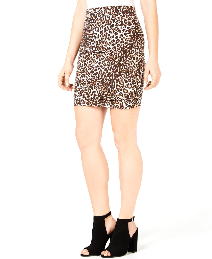 Yieldings Discount Clothing Store's Tamie Ruched Skirt by Guess in Spotted Bengal