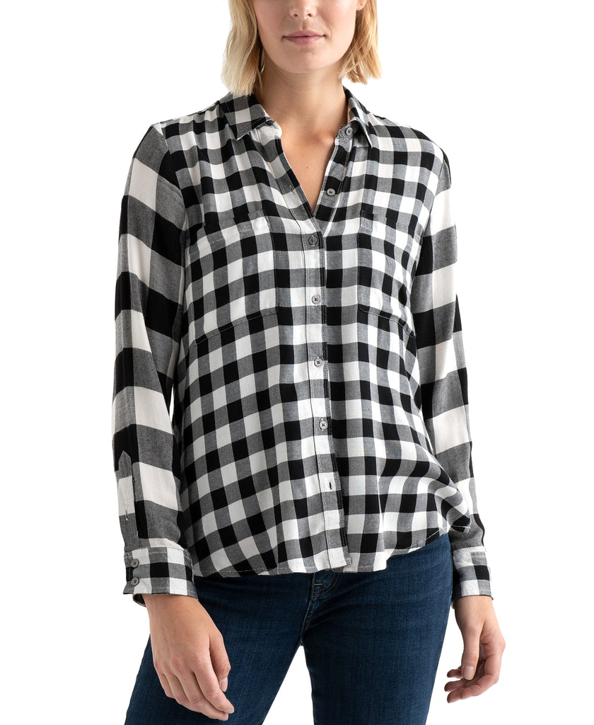 Yieldings Discount Clothing Store's Pleat-Back Mixed Plaid Top by Lucky Brand in Black/White