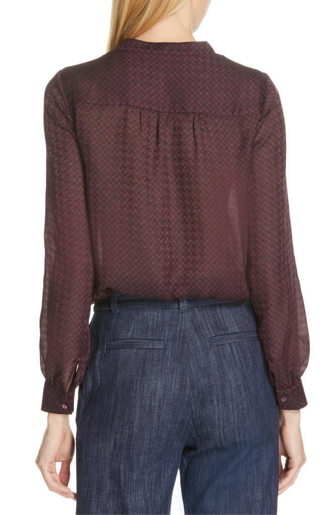 Yieldings Discount Clothing Store's Mintee Houndstooth Top by Joie in Blackberry