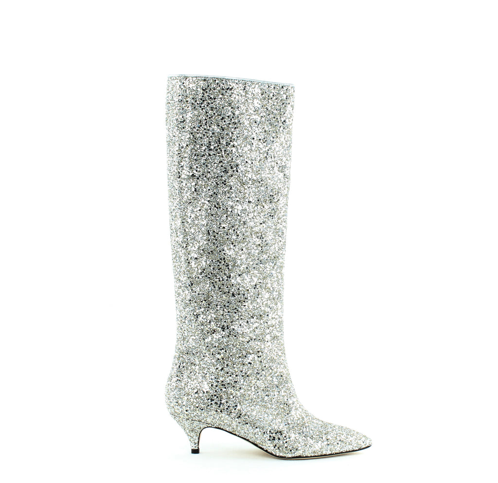 Yieldings Discount Shoes Store's Olina Glitter Knee High Boots by Kate Spade in Silver Glitter