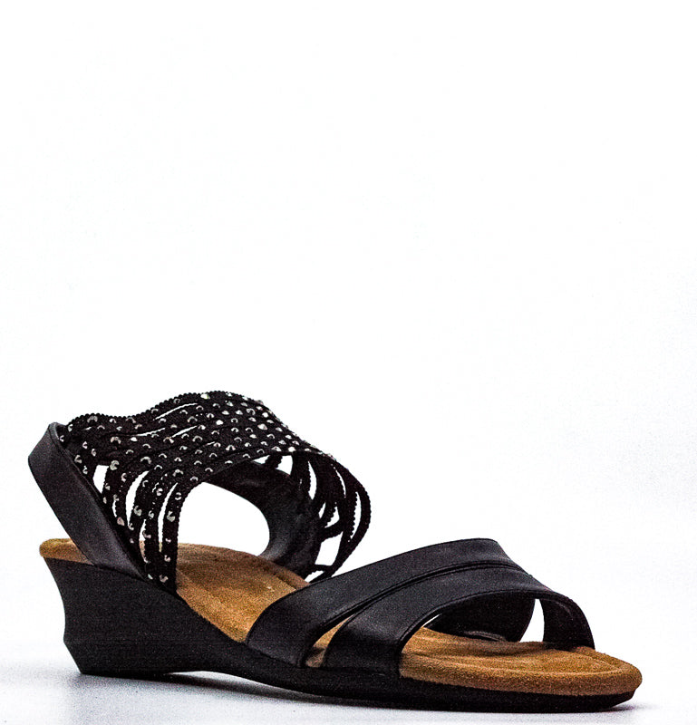 Yieldings Discount Shoes Store's Gamila Wedge Sandals by Impo in Black