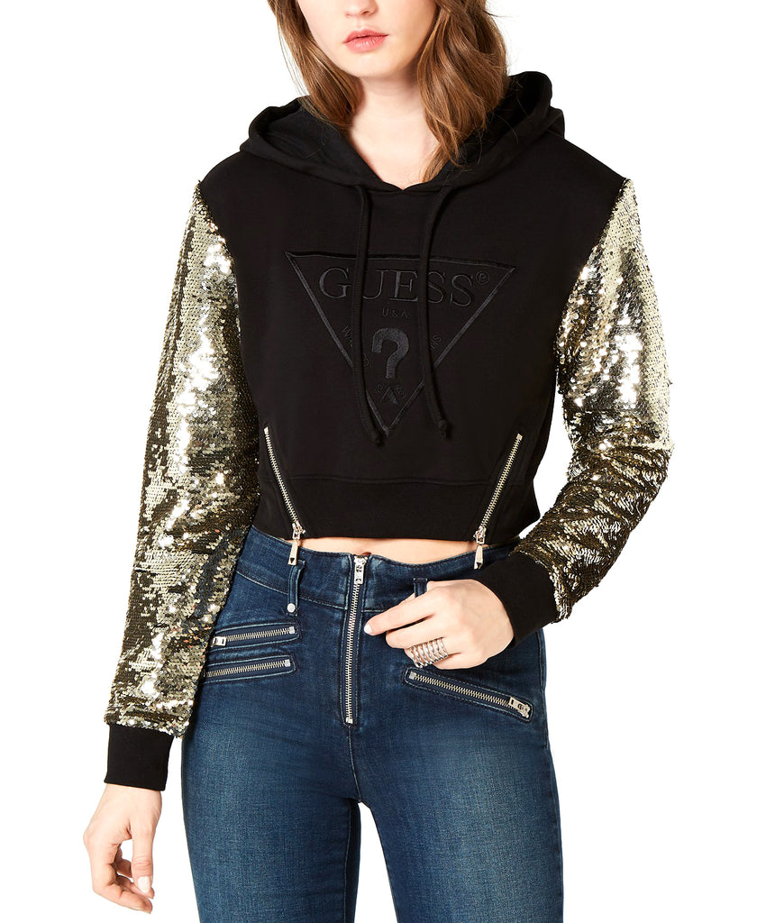 Guess | Long Sleeve Jennifer Sequin Crop Hoodie