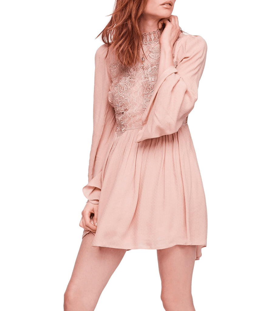 Yieldings Discount Clothing Store's Divine Lacey Mini Dress by Free People in Rose