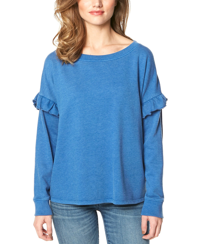 Yieldings Discount Clothing Store's Ruffle-Sleeve Sweatshirt by Buffalo David Bitton in Cobalt