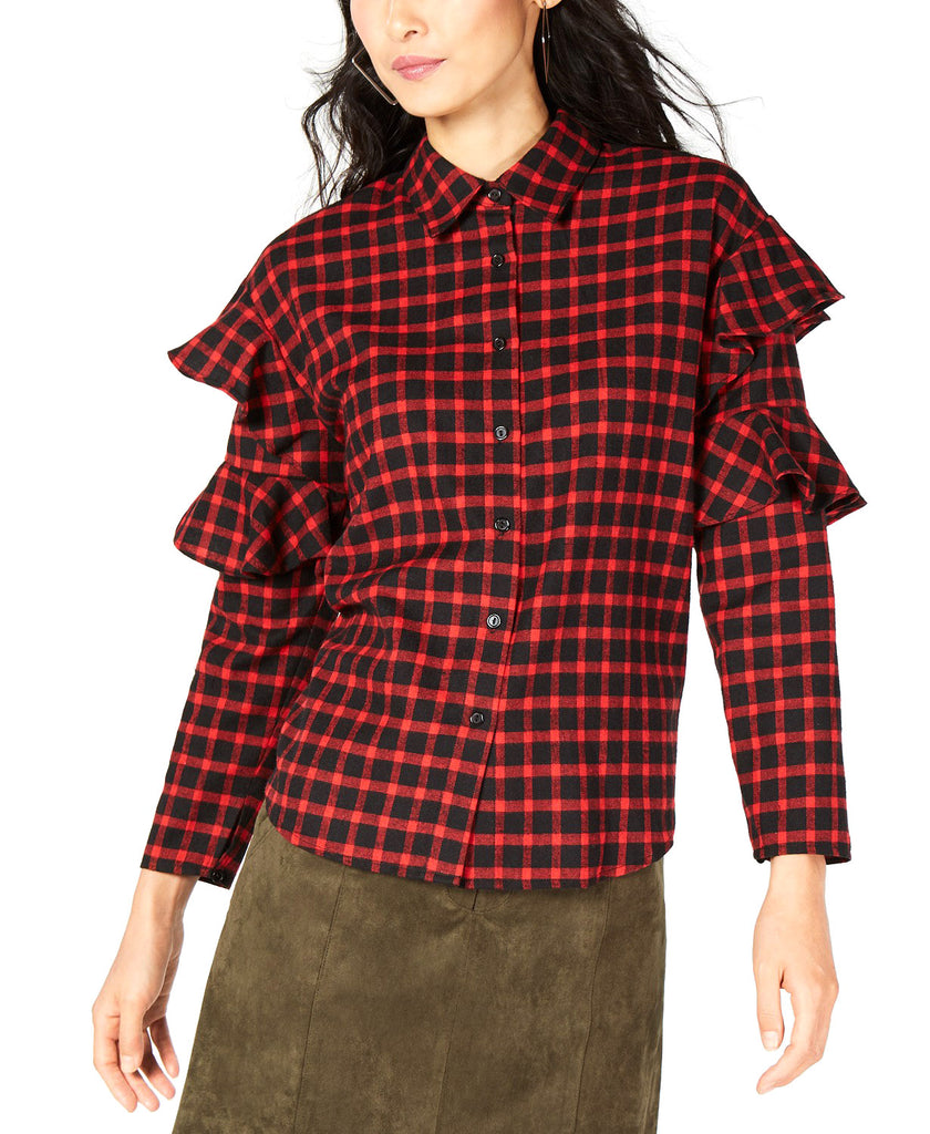 Yieldings Discount Clothing Store's Long Sleeve Ruffle Plaid Top by Sage in Red/Black