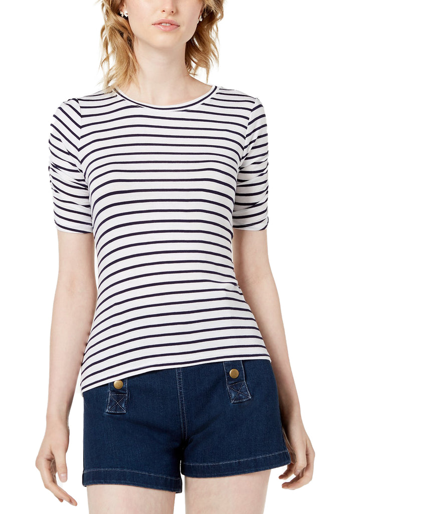 Yieldings Discount Clothing Store's Jadore Striped Ruched-Sleeve T-Shirt by Maison Jules in Bright White