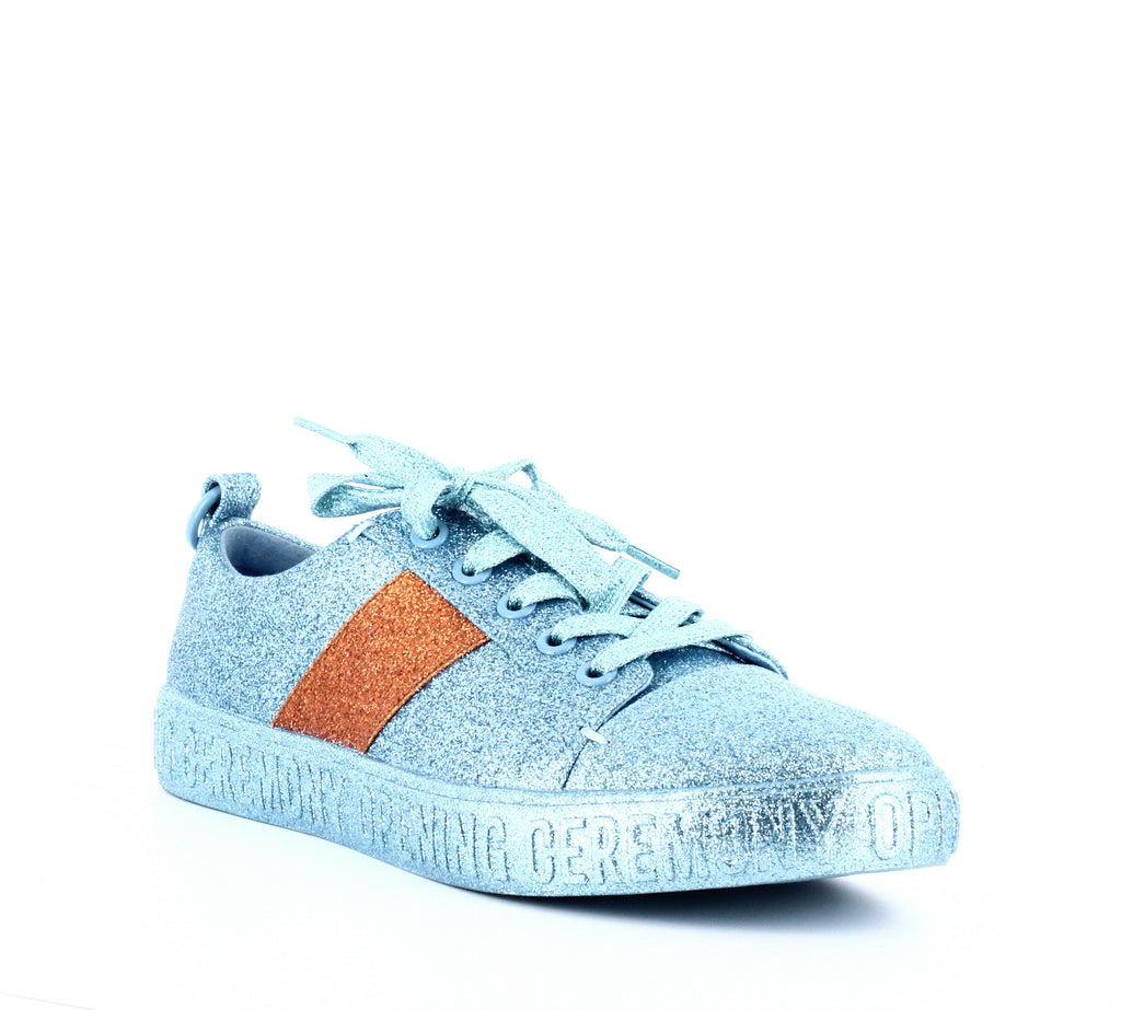 Yieldings Discount Shoes Store's La Cienega Glitter Sneakers by Opening Ceremony in Blue