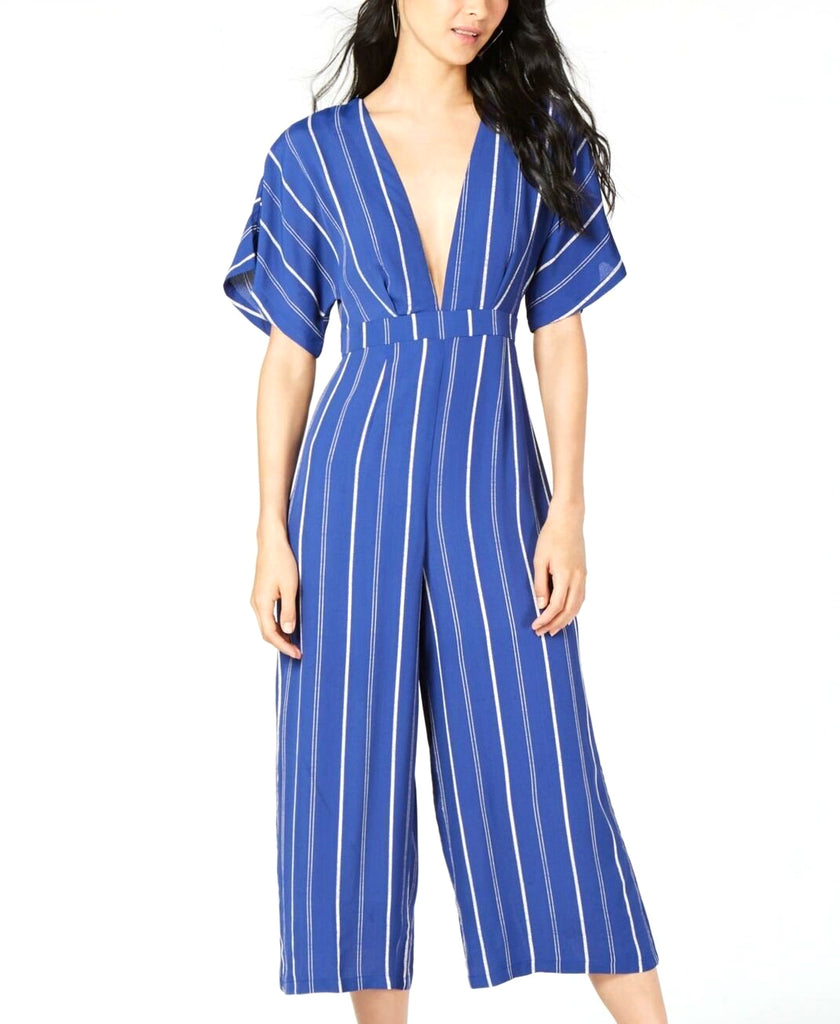 Yieldings Discount Clothing Store's Striped Cropped Jumpsuit by Sage in Navy Stripe