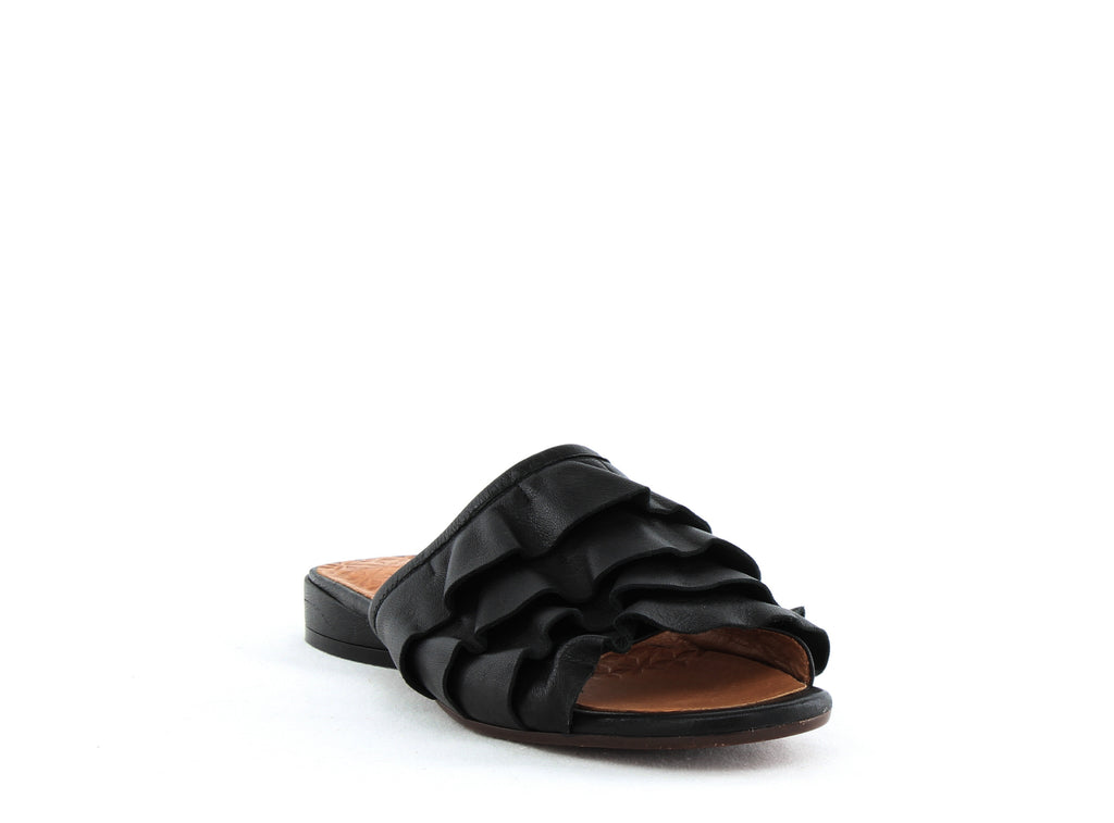Yieldings Discount Shoes Store's Volante Leather Ruffle Slide Sandals by Chie Mihara in Maitai Negro