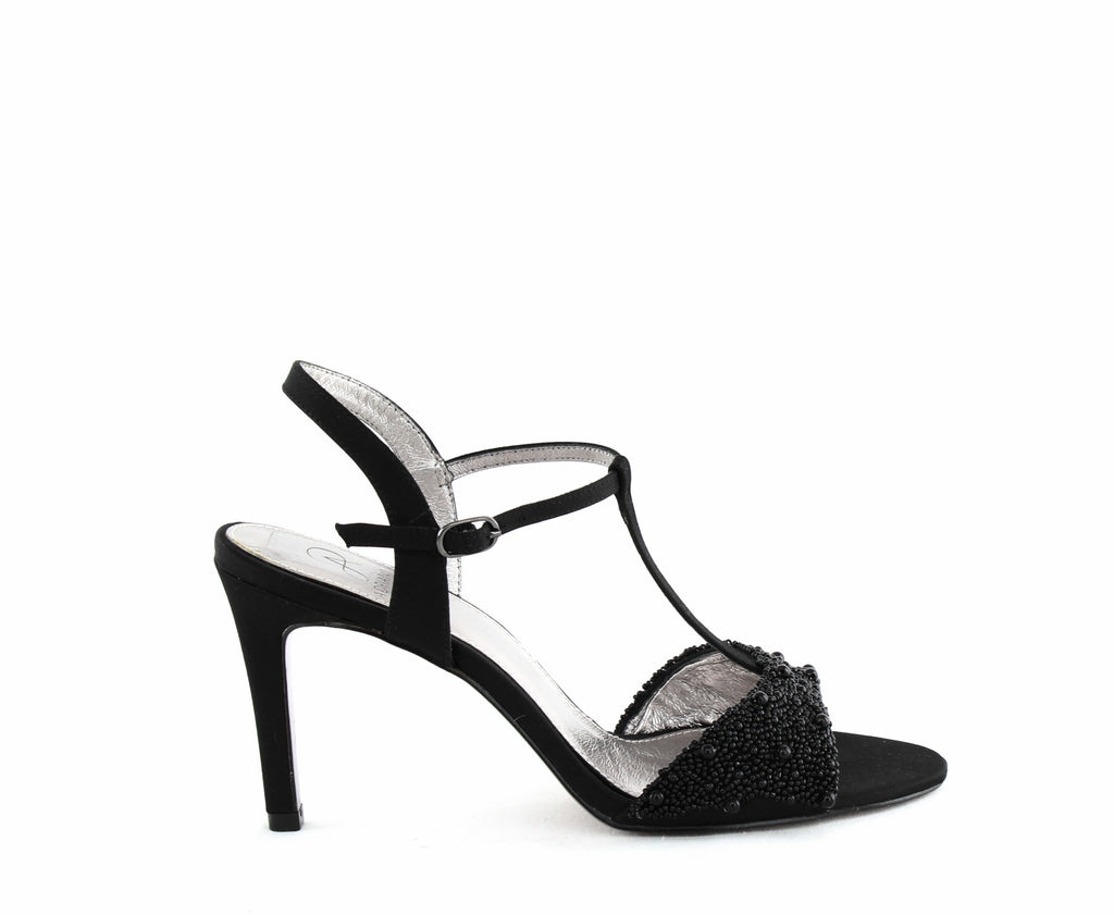 Yieldings Discount Shoes Store's Alia T-strap Evening Sandals by Adrianna Papell in Black Satin