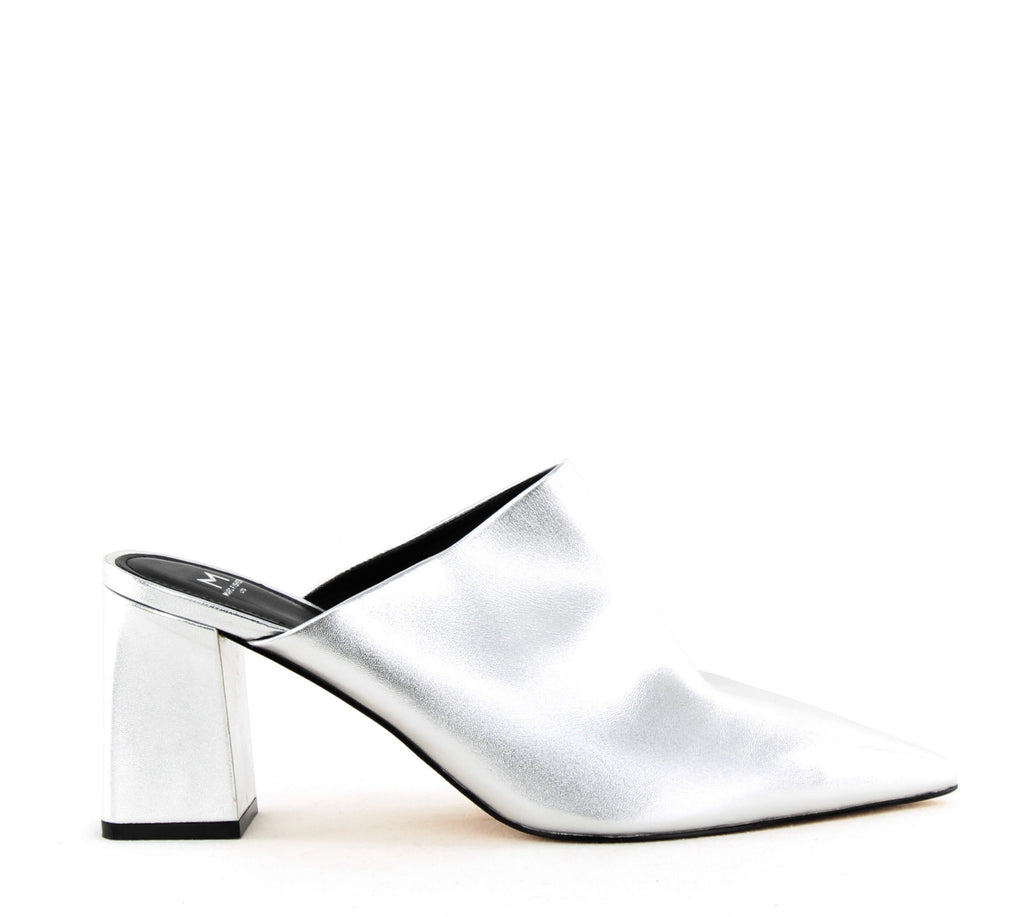 Yieldings Discount Shoes Store's Zivon Block Heels by Marc Fisher LTD in Silver Leather