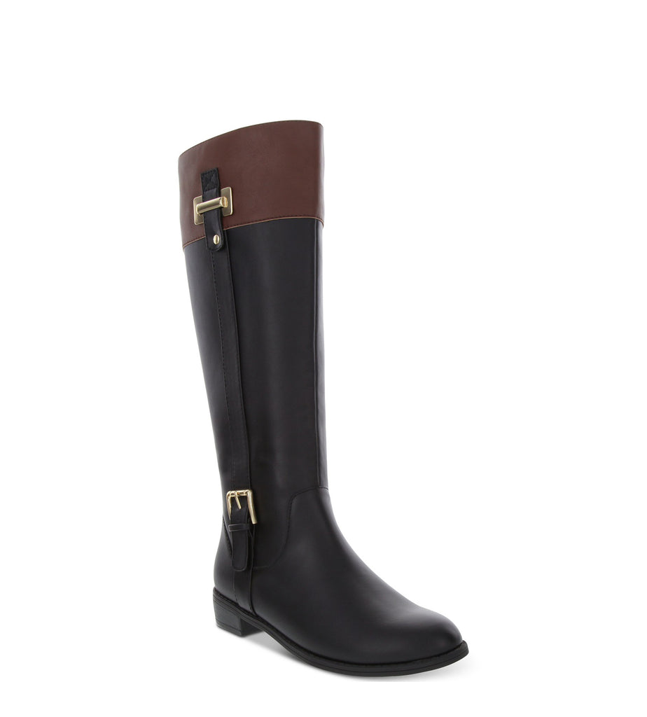 Yieldings Discount Shoes Store's Deliee2 Riding Boots by Karen Scott in Black/Cognac
