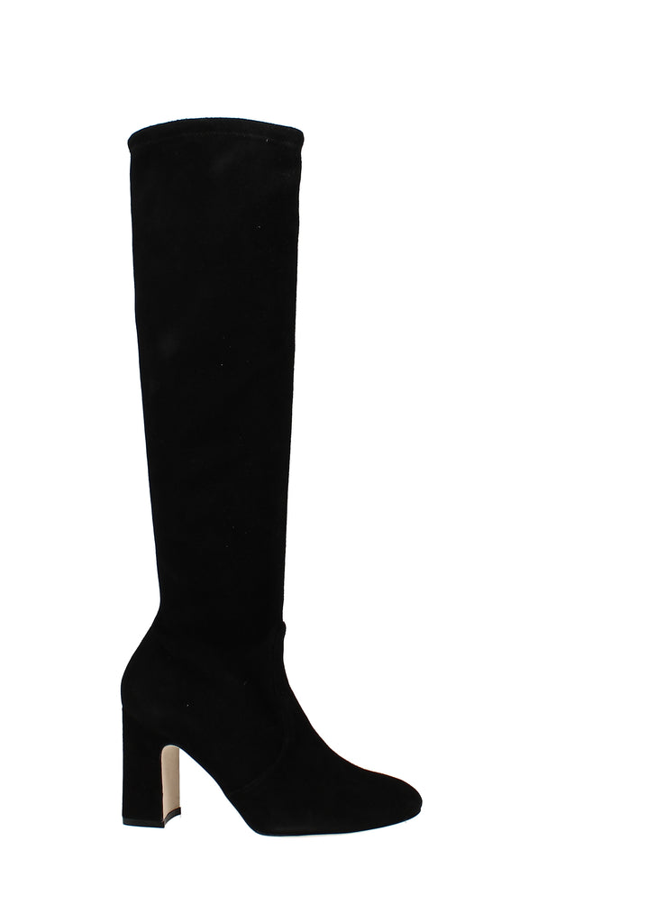 Yieldings Discount Shoes Store's Milla Stretch Block High-Heel Boots by Stuart Weitzman in Black Suede