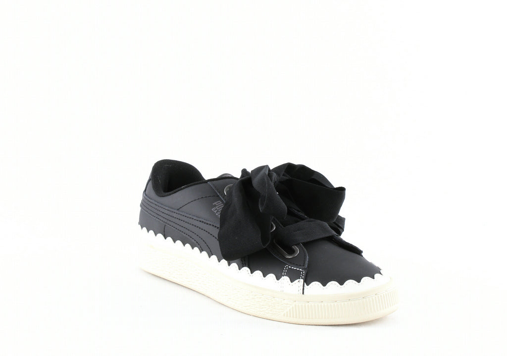 Yieldings Discount Shoes Store's Basket Heart Scallop Sneakers by Puma in Puma Black