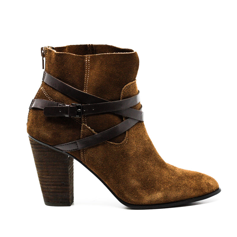 Yieldings Discount Shoes Store's Miles Block Heel Ankle Booties by Carlos Santana in Bourbon