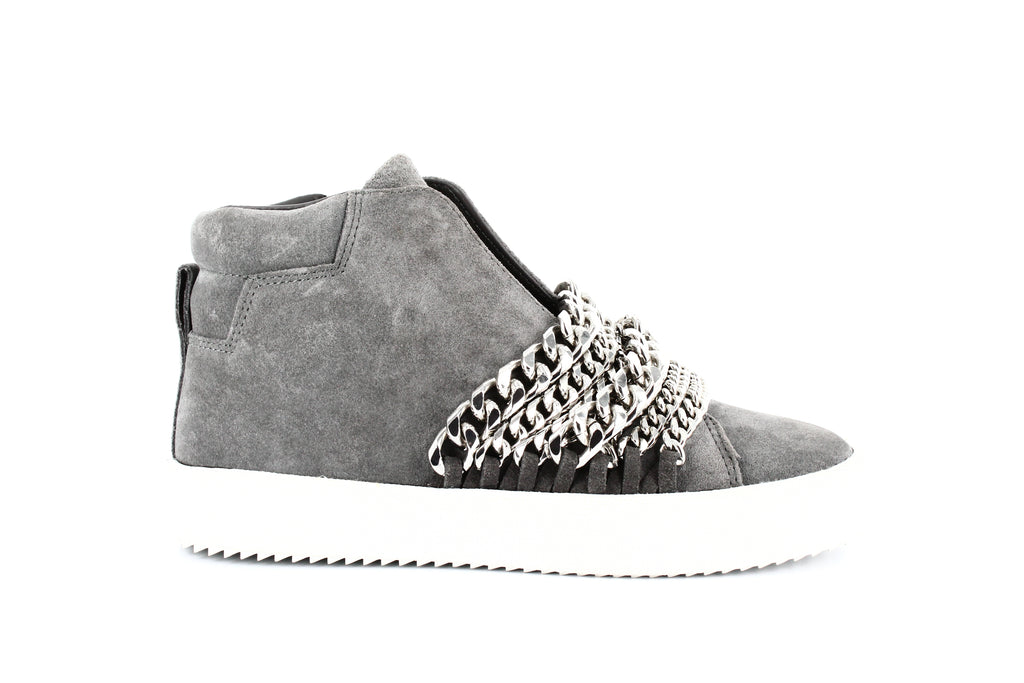 Yieldings Discount Shoes Store's Duke Chain Trim Sneakers by Kendall + Kylie in Gray Suede