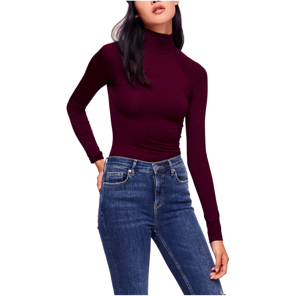 Yieldings Discount Clothing Store's Like I Do Cutout Turtleneck by Free People in Wine