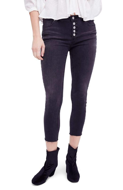 Yieldings Discount Clothing Store's Reagan Raw-Hem Skinny Jeans by Free People in Black