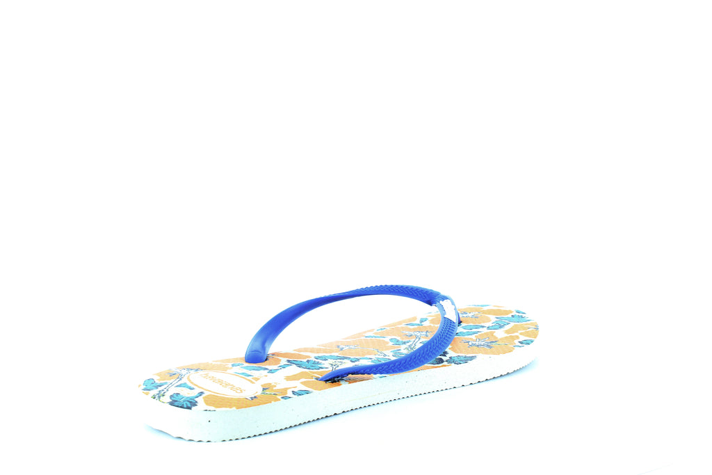 Yieldings Discount Shoes Store's Slim Floral Flip-Flops by Havaianas in White/Blue Star
