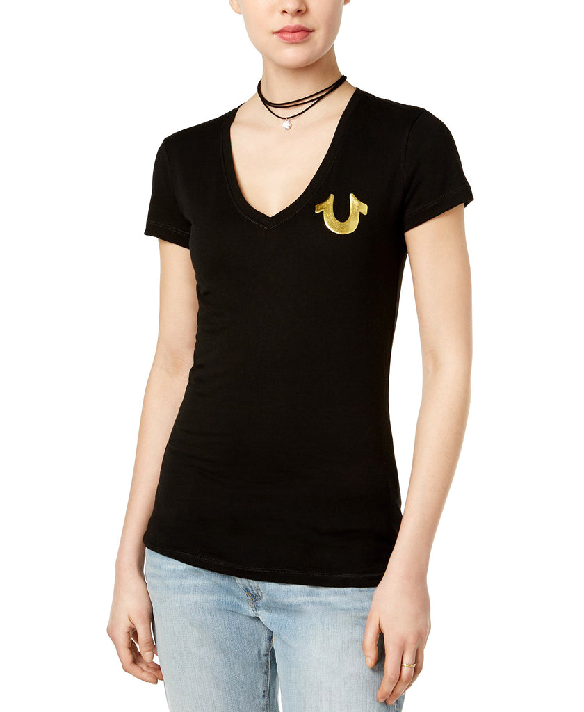 Yieldings Discount Clothing Store's Metallic Logo T-Shirt by True Religion in Black/Gold