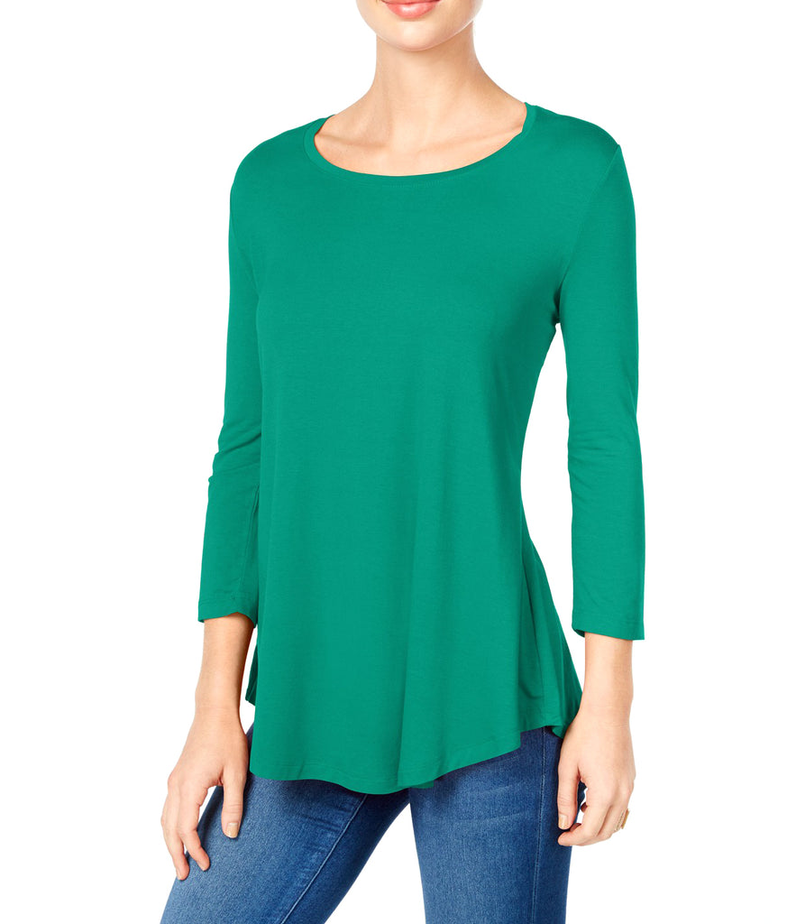 Yieldings Discount Clothing Store's Petite Three-Quarter-Sleeve Top by JM Collection in Gecko
