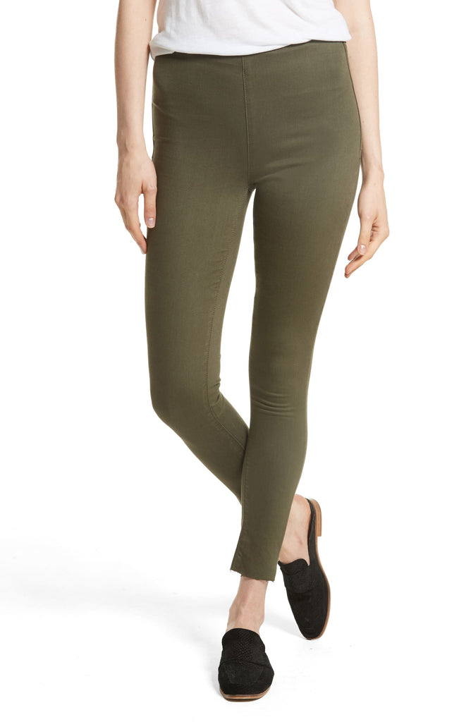 Yieldings Discount Clothing Store's Raw Hem Pull on Easy Goes It Skinny Jeans by Free People in Moss