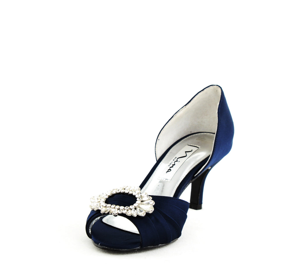 Yieldings Discount Shoes Store's Crystah Luster Satin by Nina in New Navy