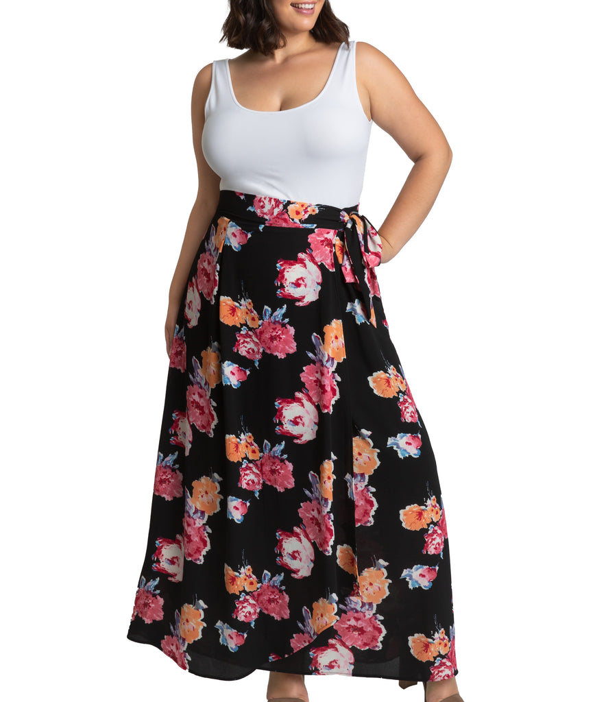 Yieldings Discount Clothing Store's Celine Chiffon Maxi Skirt by Kiyonna in Midnight Dream Print