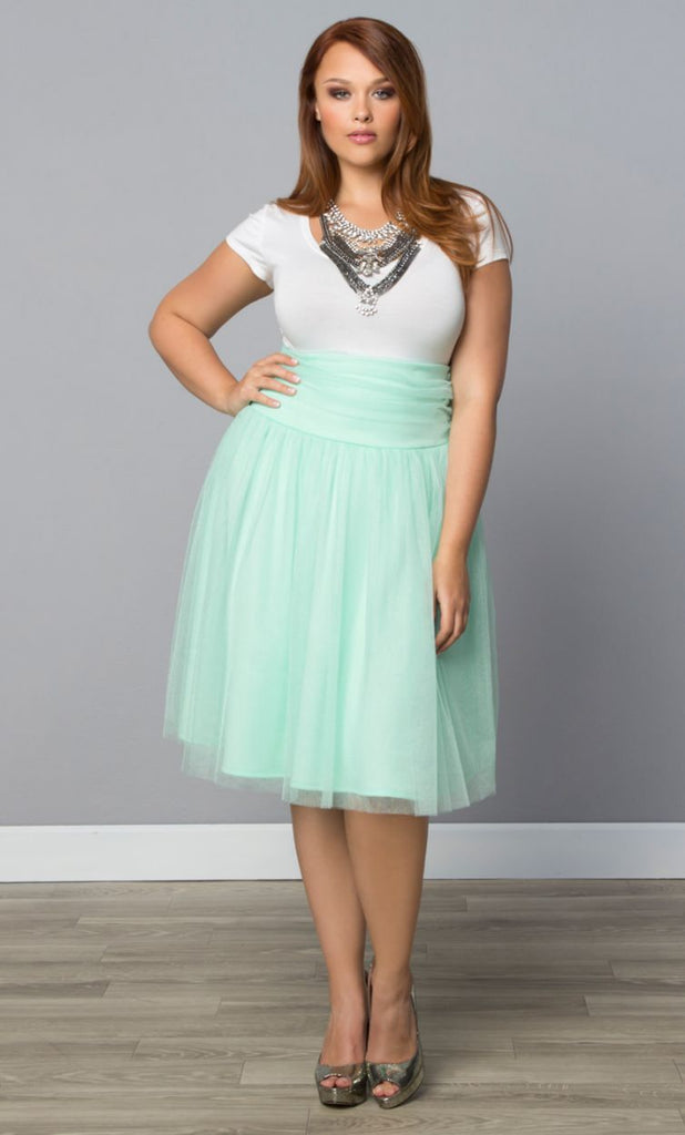 Yieldings Discount Clothing Store's Twirling in Tulle Skirt by Kiyonna in Mint