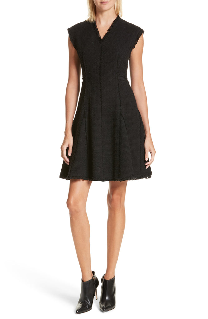 Yieldings Discount Clothing Store's Tweed Fit & Flare Dress by Rebecca Taylor in Black