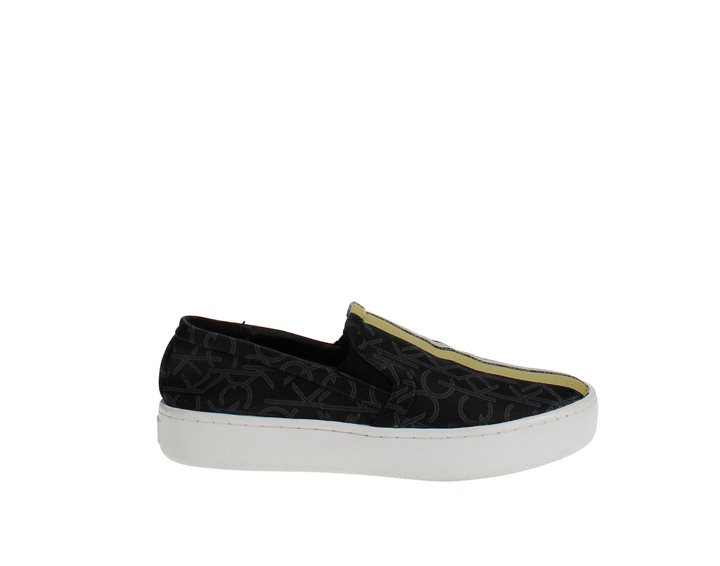 Yieldings Discount Shoes Store's Chantell Monogram Sneakers by Calvin Klein in Black/Lime