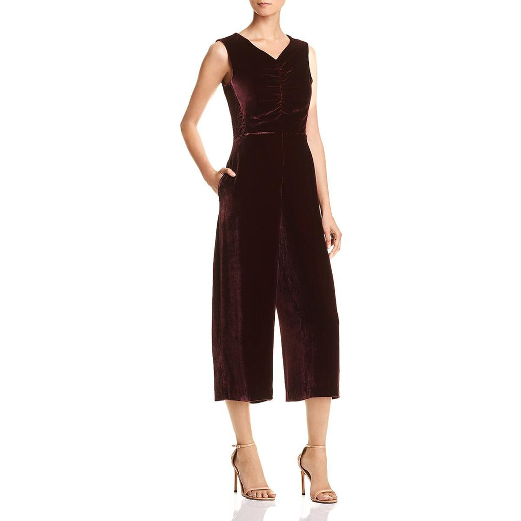 Yieldings Discount Clothing Store's Velvet Ruched Jumpsuit by Rebecca Taylor in Bordeaux