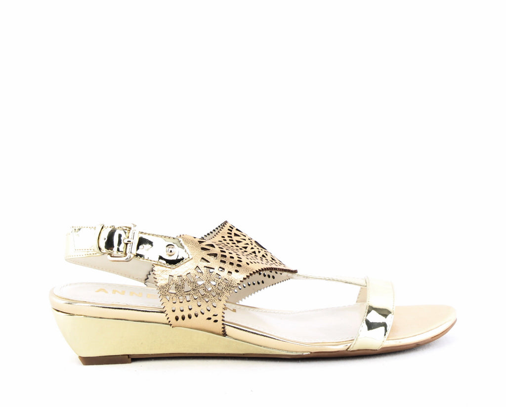Yieldings Discount Shoes Store's Maddie Wedge Sandals by Anne Klein in Light Gold