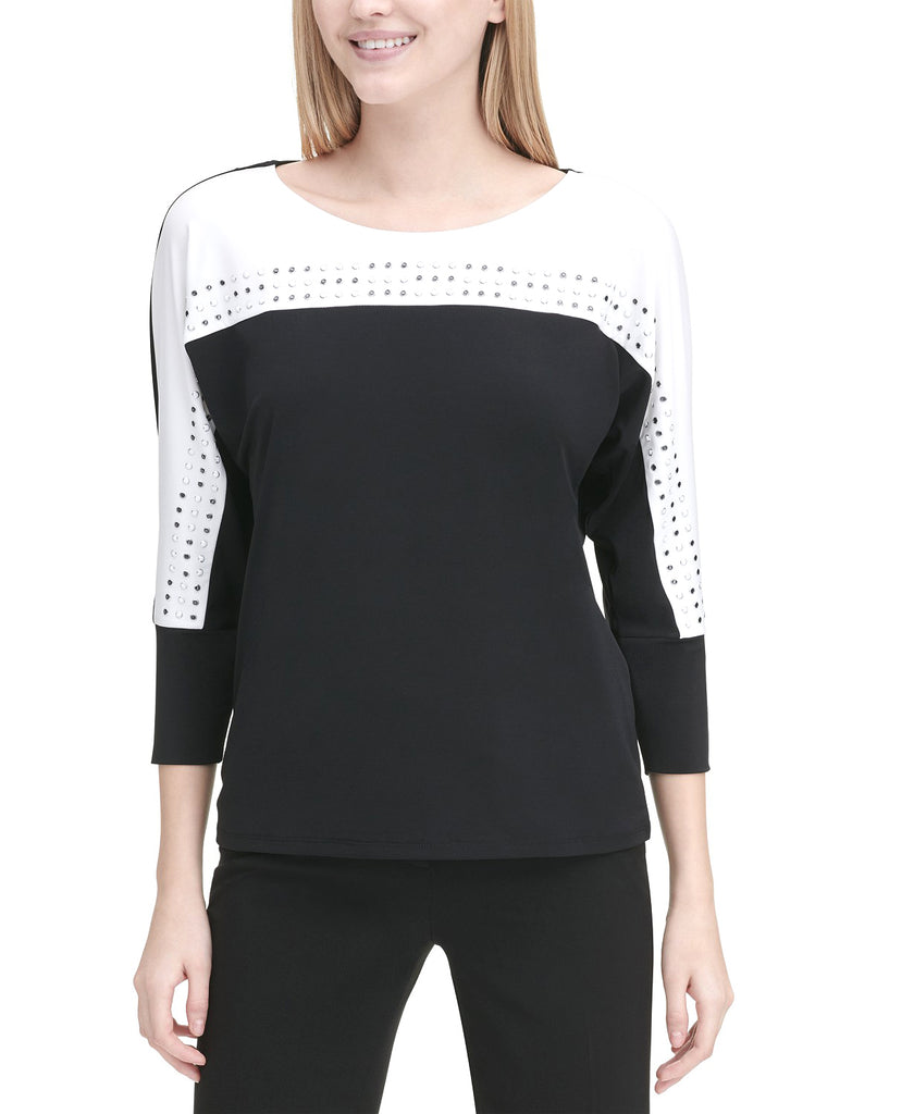 Yieldings Discount Clothing Store's Embellished Colorblocked 3/4-Sleeve Top by Calvin Klein in White/Black