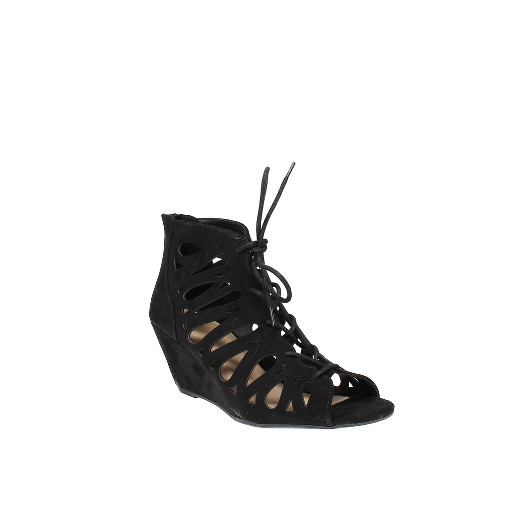 Yieldings Discount Shoes Store's Harlie Perforated Lace Up Wedge Sandals by Material Girl in Black