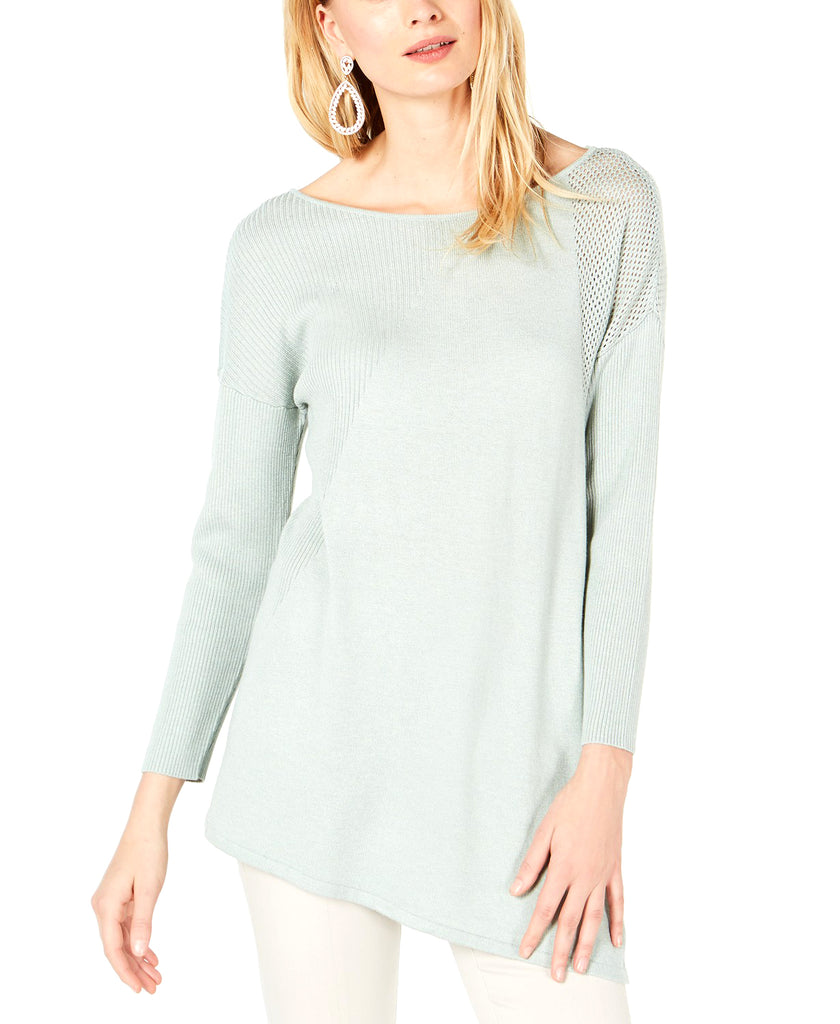 Yieldings Discount Clothing Store's Asymmetric Mixed-Knit Sweater by INC in Heather Belle Grey
