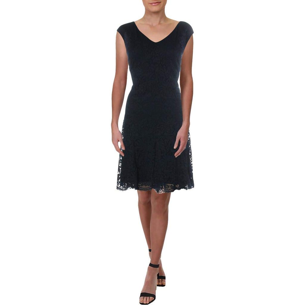 Yieldings Discount Clothing Store's Lace Fit Flare Dress by Ralph Lauren in Lighthouse Navy