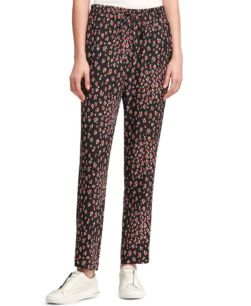 Yieldings Discount Clothing Store's Printed Pull-On Pants by DKNY in Rouge Multi