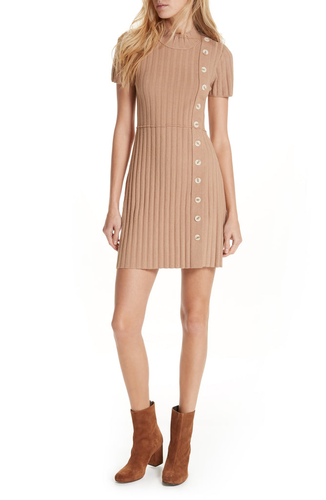 Free People | Lottie Ribbed Mock-Neck Mini Dress
