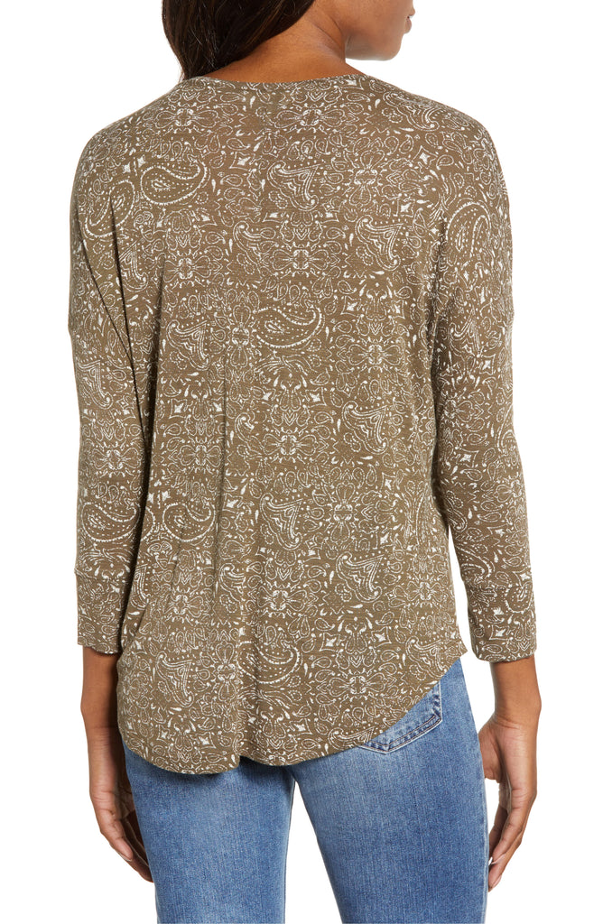 Lucky Brand | Printed 3/4 Sleeves Henley Top