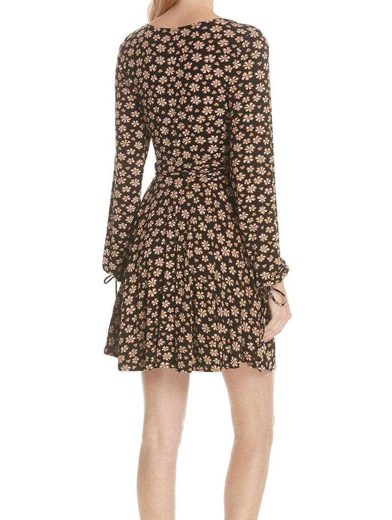 Yieldings Discount Clothing Store's Pradera Flower Printed Mini Dress by Free People in Black