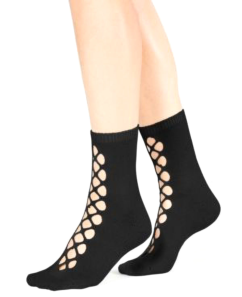 Yieldings Discount Clothing Store's Bonjour Cutout Ankle Socks by Free People in Black