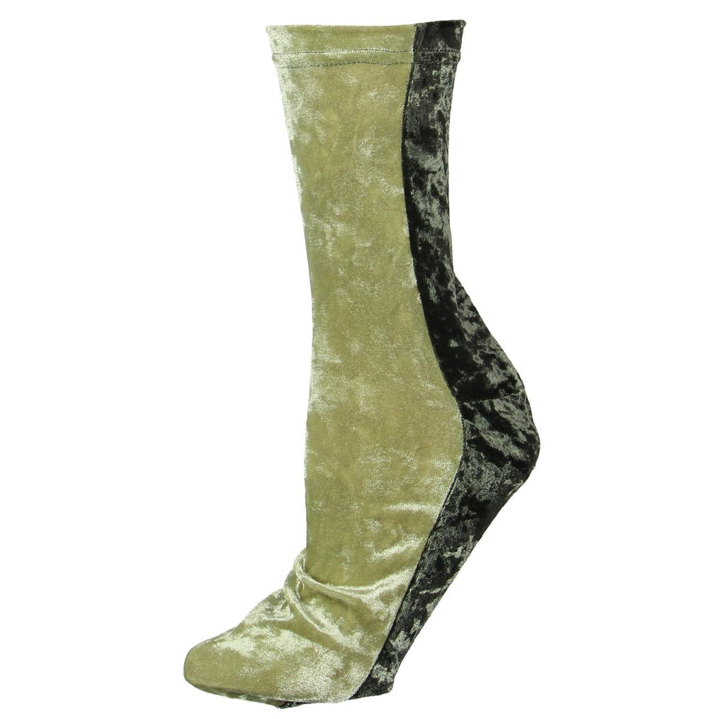 Yieldings Discount Clothing Store's Velvet Colorblock Crew Socks by Free People in Moss