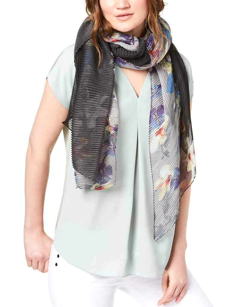 Yieldings Discount Accessories Store's Ombre Bloom Chiffon Orchid Bloom Scarf by Cejon in Black