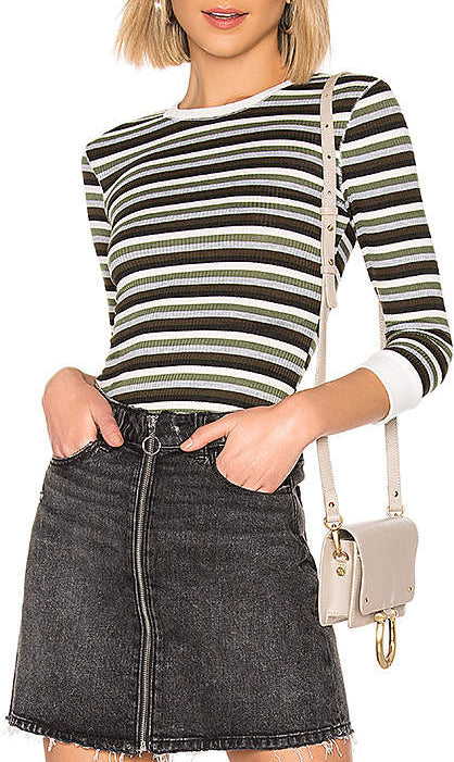 Yieldings Discount Clothing Store's Good On You Striped Long Sleeve T-Shirt by Free People in Army