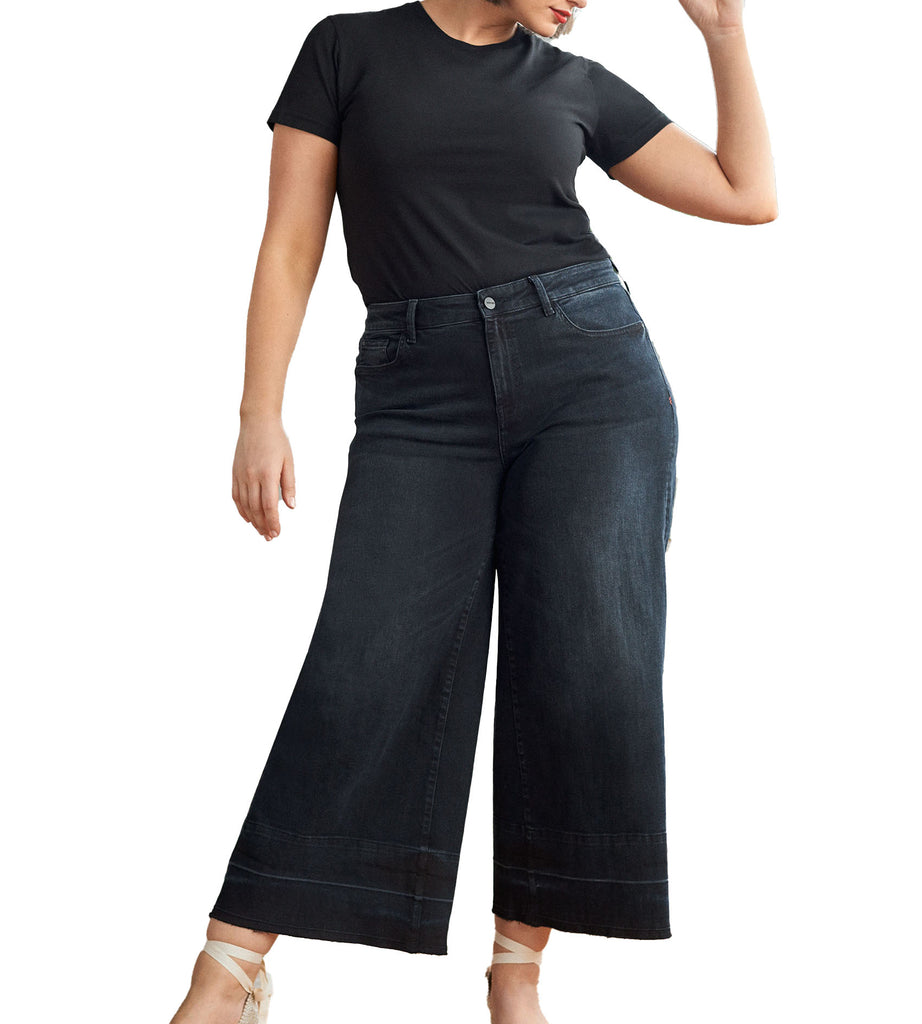 Yieldings Discount Clothing Store's ICN - Wide Leg Jeans by Warp + Weft in Black Sky