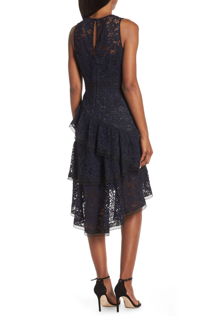 Yieldings Discount Clothing Store's Lace Hi-Low Cocktail Dress by Eliza J in Navy