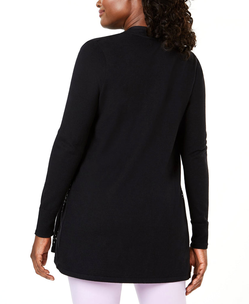 Yieldings Discount Clothing Store's Embellished Draped Cardigan by JM Collection in Deep Black